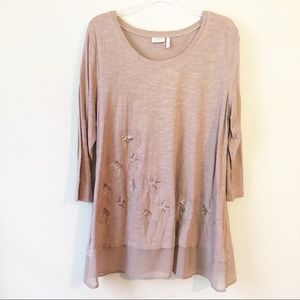LOGO Dusty Rose Embroidered Floral Tunic